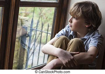 fiú, fiatal, bús, látszó, ablak, gyermek, ki