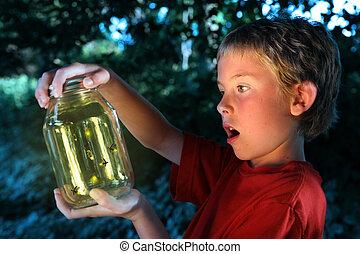 fiú, fireflies, bögre