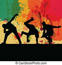 fiú, fogalom, árnykép, szín, loccsanás, táncol, vektor, háttér