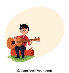 fiú, fogalom, természetjárás, kempingezés, ülés, gitár, fahasáb, játék