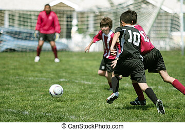 fiú, futball, játék