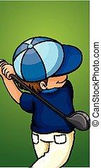fiú, golf, boldog, klub