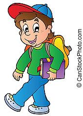 fiú, gyalogló, izbogis, karikatúra