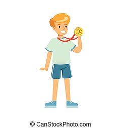 fiú, gyerekek, egyén, érem, fiatal, ábra, vektor, állás, sport, karikatúra, először