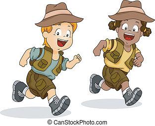 fiú, gyerekek, futás, kaland, szafari, leány