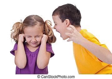 fiú, gyerekek, vita, -, kiabálás, leány