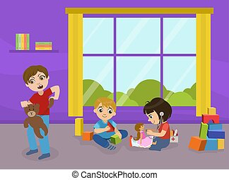 fiú, gyerekszoba, terrorizál, törő, ábra, gyerekek, apró, rossz, vektor, óvoda, magatartás, apró, agresszív, játék