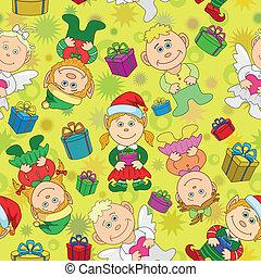 fiú, háttér, lány, seamless, karácsony