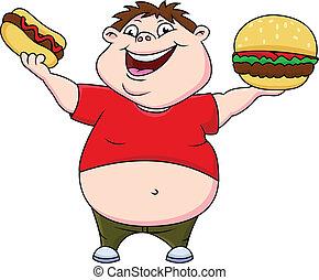 fiú, hot dog, kövér, burger