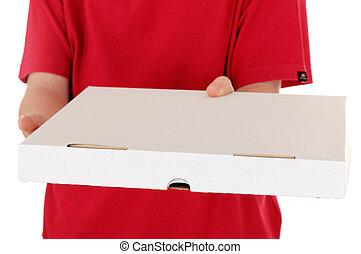 fiú, ing, doboz, elszigetelt, háttér, mond, white piros, pizza