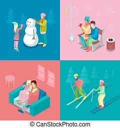 fiú, isometric, tél, lakás, emberek., gyalogló, ábra, párosít, hóember, vektor, síelés, gyártás, leány, outdoor., 3