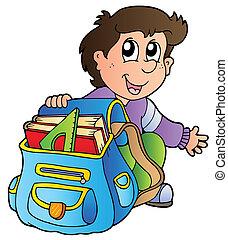 fiú, izbogis, karikatúra, táska