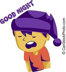 fiú, jó, mondás, bíbor, álmos, sárga, alvás, vektor, ábra, háttér, éjszaka, white kalap