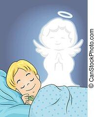 fiú, kölyök, alszik, angyal, gyám