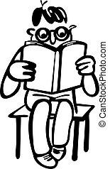 fiú, könyv, felolvasás, ülés, szék