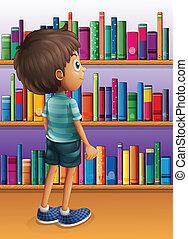 fiú, könyv, kutató, könyvtár