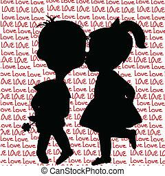 fiú, körvonal, csókolózás, leány, karikatúra, kártya