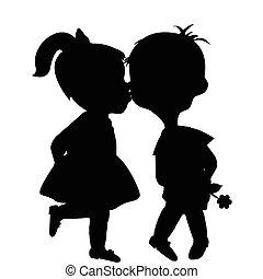 fiú, körvonal, leány, karikatúra, csókolózás