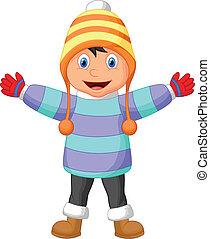 fiú, karikatúra, öltözék, tél, wav