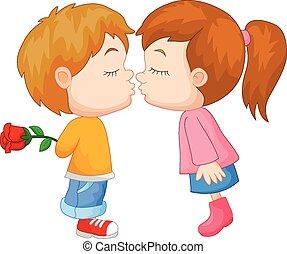 fiú, karikatúra, leány, csókolózás