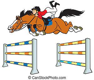 fiú, karikatúra, lovas, ló