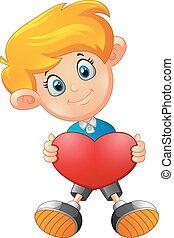 fiú, karikatúra, szív