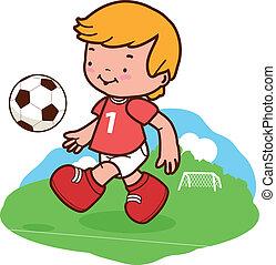 fiú, kevés, ábra, vektor, játék, soccer.