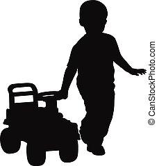 fiú, kevés, árnykép, csecsemő, bevezet, autó