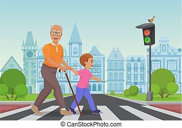 fiú, kevés, öreg, illustration., város, kereszt, man., ételadag, vektor, felszolgál, idősebb ember, út, ember