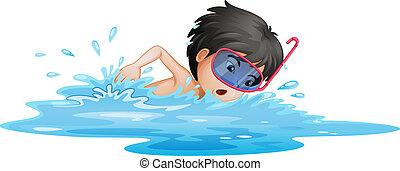 fiú, kevés, úszás