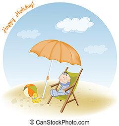 fiú, kevés, őt ül, tengerpart
