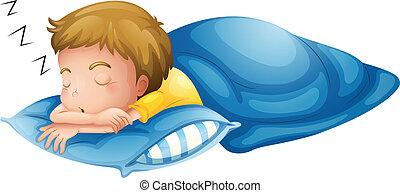 fiú, kevés, alvás