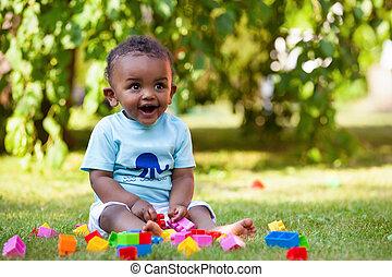 fiú, kevés, amerikai, afrikai, csecsemő, fű, játék