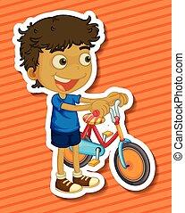 fiú, kevés, bicikli elnyomott