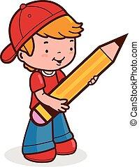 fiú, kevés, birtok, nagy, ábra, vektor, diák, pencil.
