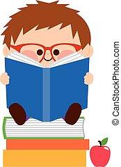fiú, kevés, books., ábra, vektor, felolvasás