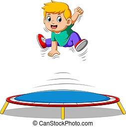fiú, kevés, csinos, trampoline ugrás