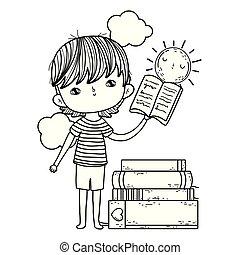 fiú, kevés, felolvasás, előjegyez, boldog