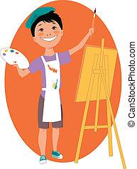 fiú, kevés, festőállvány, festmény