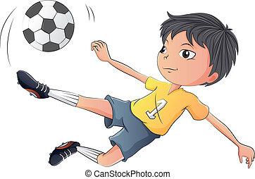 fiú, kevés, futball, játék