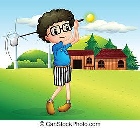 fiú, kevés, golf, játék