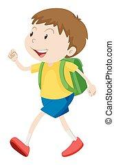 fiú, kevés, gyalogló, iskolatáska