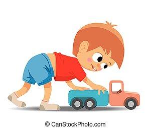 fiú, kevés, játékszer, bánik, autó