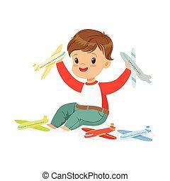 fiú, kevés, játékszer, színes, ülés, repülőgépek, emelet, betű, ábra, vektor, imádnivaló, játék, boldog