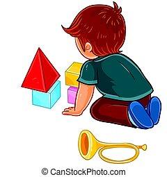 fiú, kevés, kikövez, emelet, ülés, vektor, csecsemő, játék