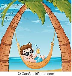 fiú, kevés, koktél, bágyasztó, függőágy, ivás, tengerpart, karikatúra