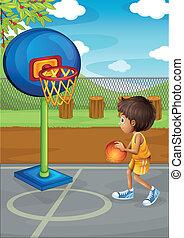fiú, kevés, kosárlabda, játék