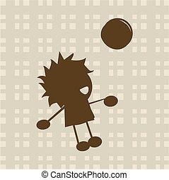 fiú, kevés, labda, játék