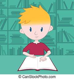 fiú, kevés, maga, felolvasás, könyvtár