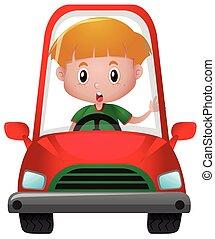 fiú, kevés, piros, vezetés, autó